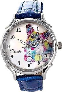 Corgi Dog Pet Swiss Quartz Watch Multicolor 35mm Mother of Pearl Rainbow Art Dial Blue Calfskin...