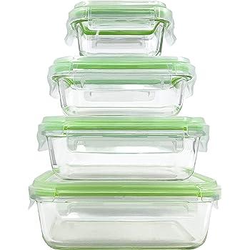 Home Fleek - Envases de Vidrio para Alimentos | 4 Recipientes + 4 Tapas | Herméticos | Sin BPA (Set 4, Rectangular Verde)