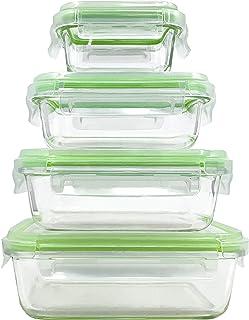 Home Fleek - Envases de Vidrio para Alimentos   4 Recipientes + 4 Tapas   Herméticos   Sin BPA (Set 4, Rectangular Verde)