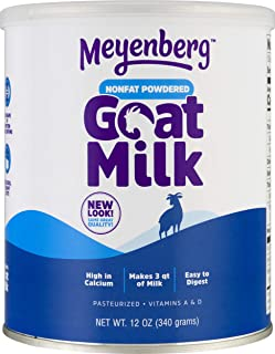 Meyenberg Nonfat Powdered Goat Milk, 12 oz, Vitamins A & D, Gluten Free, Soy Free