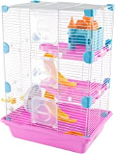 PETMAKER Hamster Cage Habitat, 3 Story Critter/Gerbil/Small Animal Starter Kit with Attachments/Accessories- Water Bottle, Tunnel Ladders, Wheel