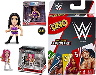 WWE Girl Event! Metals Pack Sahsa Banks & Paige Figure Die-Cast Character 2 Pack Bundled with Super Slammer Action Battle Wrestling Uno Theme Deck Game 3 Items