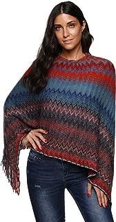 Leoparts Women's Batwing Tassels Poncho Cape Winter Knit Sweater Cloak Outwear