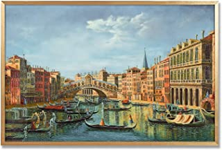 MOTINI Vintage Oil Paintings Gold Framed Wall Art Prints Venice Canal Picture Printed on Acrylic Traditional Contemporary Artwork for Dinning Room Bedroom Walls Decor, 24