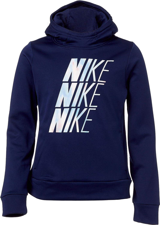 Nike Girl's Therma Unicorn Hooded Pullover (Blue Void, Medium)