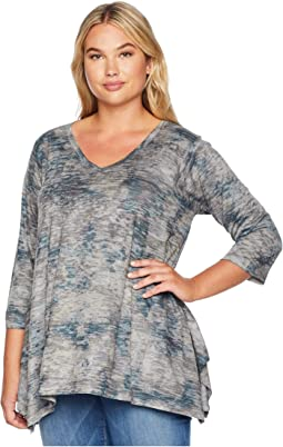 Plus Size Burnout Floral Print Tunic