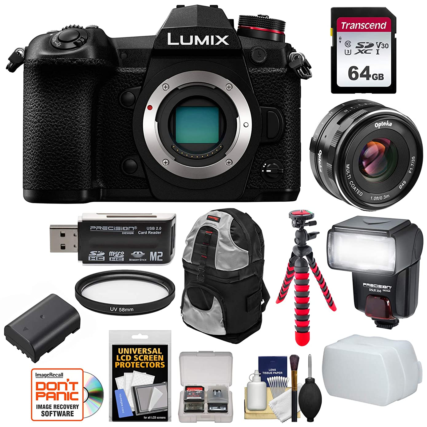 Panasonic Lumix DC-G9 4K Wi-Fi Digital Camera Body with 35mm Lens + 64GB Card + Battery + Backpack + Tripod + Flash + Kit
