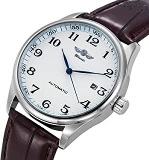Gute Classic WINNER Mechanical Watch white Dial Blue Hands PU Band Self-wind Men-standard