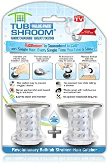 TubShroom Chrome Edition Revolutionary Tub Drain Protector Hair Catcher, Strainer, Snare, 2 Pack
