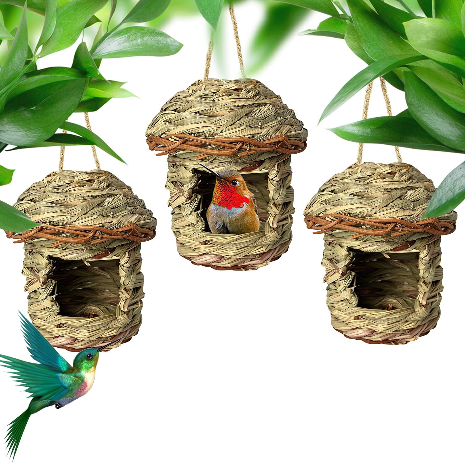 Sufford 3 Pack Hummingbird House Ranking TOP14 Grass Safety and trust Nest for Woven Bird Hand