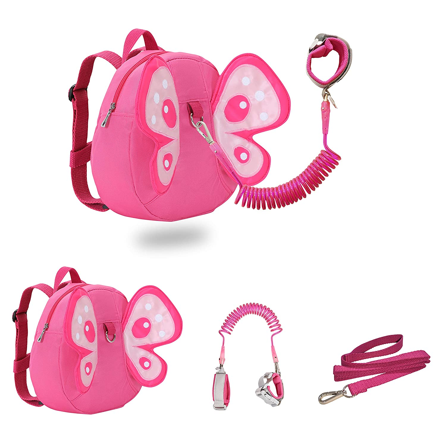 JIANBAO Butterfly Toddler Backpacks with Leashes Anti Lost Wrist Link for 1.5 to 3 Years Kids Girls Boys Safety (Butterfly, Pink)