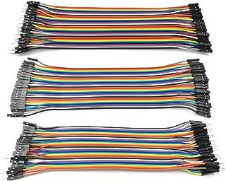 Kalevel 120pcs Breadboards Jumper Wires Male to Female Jumper Wires Male to Male Jumper Wires Female to Female Jumper Wires Kit Long Ribbon Cable 20cm (m-m, f-f, m-f)