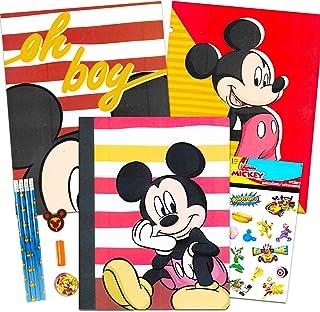 مجموعة لوازم المدرسة ميكي ماوس من ديزني ~ حافظة، أجهزة الكمبيوتر المحمول، أقلام وملصقات