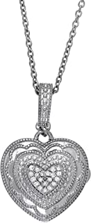 Fine Sterling Silver-Custom Photo Heart Locket Necklace-That Holds Pictures for Women-The Rose
