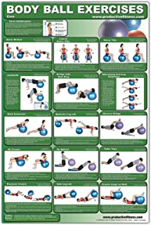 Laminated Body Ball Core Exercise Poster - This Exercise Ball Chart was Created by Fitness Experts with University Degrees...