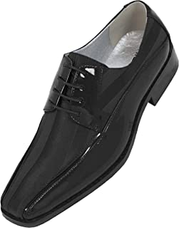 Viotti Men's Formal Oxford Dress Shoe Striped Satin and Patent Tuxedo Classic Lace Up, 179 Style