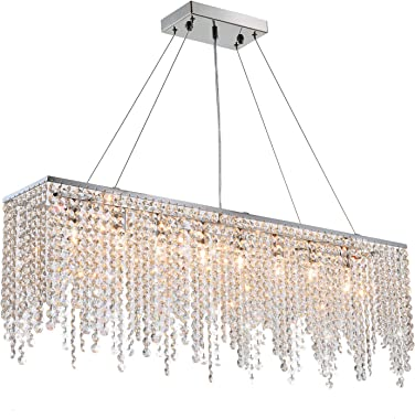 "7PM Modern Linear Rectangular Island Dining Room Crystal Chandelier Lighting Fixture (Large L40"")"