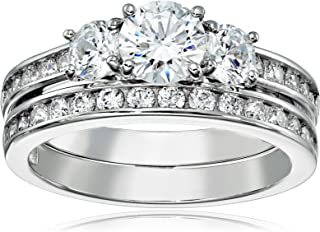 J'ADMIRE 2.6 carats Swarovski Zirconia Three Stone Ring, Platinum Plated Sterling Silver