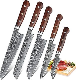 XINZUO 5 Pièces Ensemble de Professionnel Couteaux de Cuisine,Haute Qualité 67 Couche Haut Carbone Acier Damas Couteau de ...