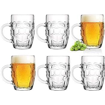 Vasos de cerveza de 0,5 L con asa, jarra de cerveza de 6 piezas, jarra métrica de cristal, Oktoberfest, cerveza, con adornos, diseño clásico: Amazon.es: Hogar