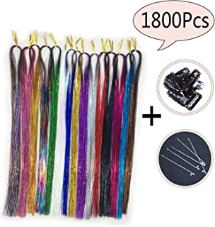 """GEOOT 39"""" Hair Tinsel 1800 Strands 15 Colors - Fairy Hair Tinsel Sparkling & Shiny Hair Tinsel Extensions Colored Party Highlights Glitter Extensions Multi-Colors Hair (15 Colors/Pack)"""