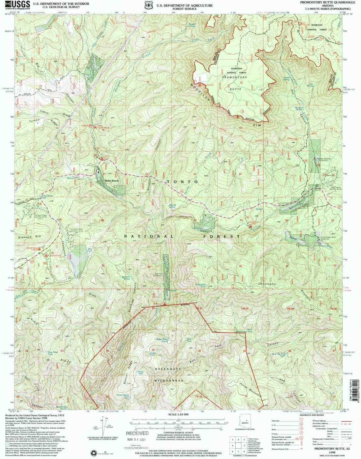 YellowMaps Promontory Butte AZ San Diego Mall Year-end gift topo map 7.5 7. Scale X 1:24000