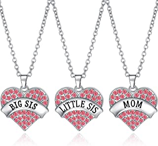 Hicarer 3 قطع كبيرة Sis Middle Sis Little Sis Mom كريستال القلب قلادة مجموعة مجوهرات العائلة للنساء بنات أخوات أم