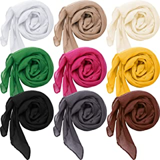 9 Pieces Women Scarf Shawl Wrap Head Scarves Big Head Scarf Soft Linen Scarf, Candy Color