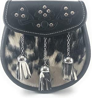 Original Cowhide Leather Scottish Kilt Sporran with Three Tassels & Embossed Flap Black