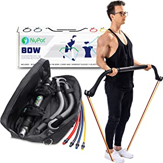 NYPOT Bow Portable Home Gym - Resistance Bands Workout Kit - Fitness Equipment Set - 4 Resistance Bands - Full Body Training Kit - Weightlifting & Exercise Kit for Men & Women - Bar System for Travel