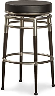 Hillsdale Salem 26-Inch Backless Swivel Counter Stool, Polished Chrome and Rich Maple Accents with Black Vinyl