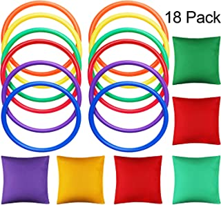 18 Pieces Multicolor Nylon Bean Bags Plastic Toss Rings for Bean Bag Toss Games for Indoor Outdoor Family Game Birthday Party Supplies