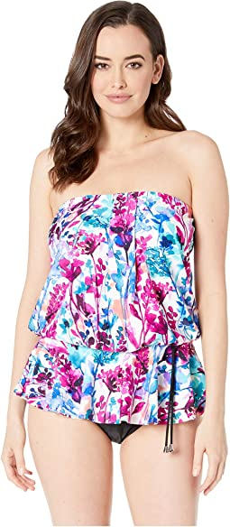 Parisian Garden Over the Shoulder Peplum MIO One-Piece