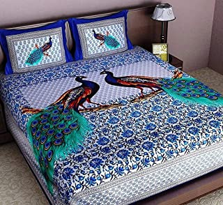 UNIBLISS 100% Cotton Rajasthani Jaipuri Traditional King Size Double Bed Bedsheet with 2 Pillow Covers - (Jaipuri_Bed15)