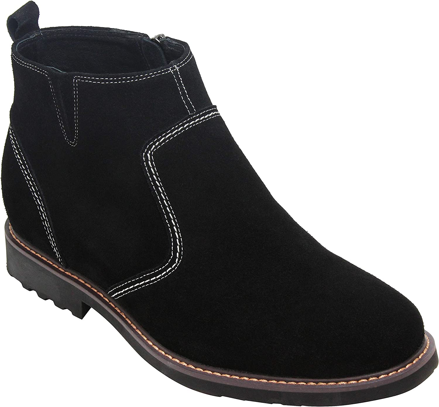 CALTO Men's Invisible Height Increasing Elevator shoes - Black Nubuck Leather Mid-top Casual Zipper Boots - 3.2 Inches Taller - Y41082