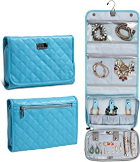 First Avenue Jewelry Travel Cases for Women, Travel Gifts, Portable Travel Jewelry Organizer, Hanging Travel Jewelry Case with Custom Compartments, Quilted Leather Blue