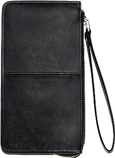 Women's Leather Zipper Clutch Wristlet Wallet for iPhone X/8 Plus by YALUXE