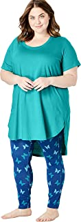 Dreams & Co. Women's Plus Size High-Low Tunic Pj Set - 22/24, Waterfall Butterfly