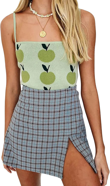 Women's Y2k Fashion E-Girl Crop Top Sexy Apple Print Backless Slim Sleeveless Camisole Spaghetti Straps Y2K Basic Vest