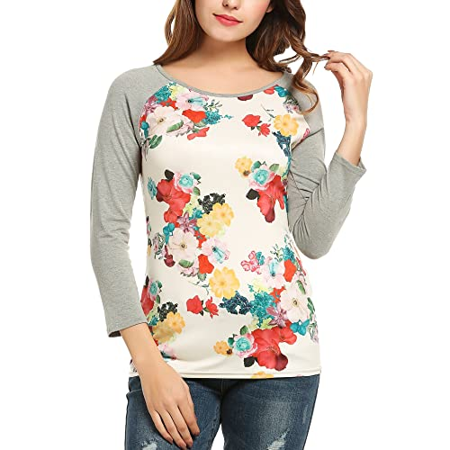 1a6b6c87 Meaneor Women Contrast Color Raglan Sleeve Paneled Tee Shirt Floral Tops  Blouse