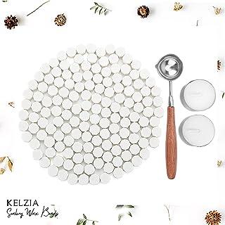 Kelzia Perlas de Cera de Sellado- Kit de Lacre de Sellado Octagonal con 2 Velas de Té + 1 Cuchara de Fundir sin Sello - Cera para Sellar y Decorar Cartas e Invitaciones - 230 piezas (Blanco Mate)
