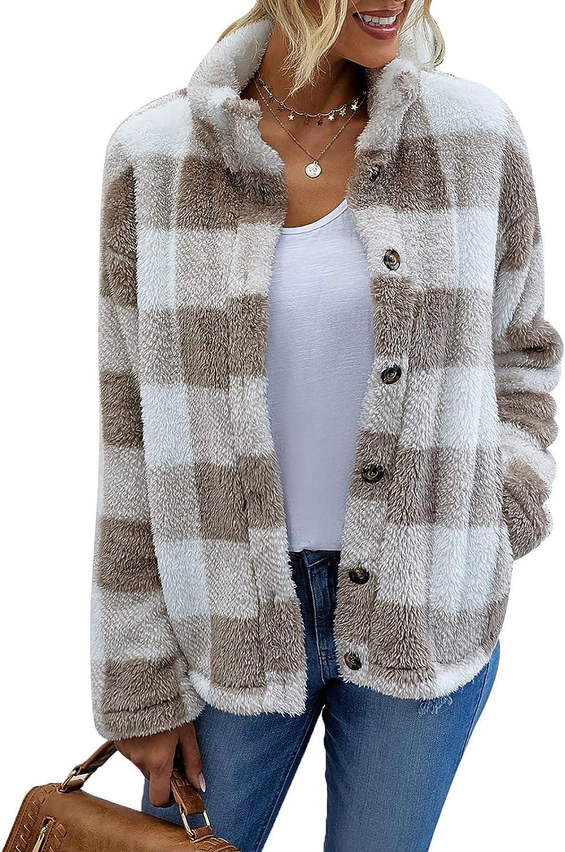 Women's Fashion Long Sleeve Casual Plaid Cozy Fleece Fuzzy Faux Shearling Coats Winter Lapel Button Down Jackets