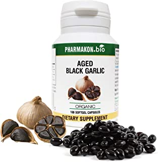 #1 Selling Organic Aged Black Garlic Supplement in Germany, 100 Soft Capsules, Very Potent (Fermented Garlic + Extract), R...