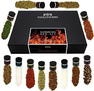 Hallingers 12er BBQ-Geschenk-Set mit Gewürzen aus aller Welt 220g - Klassisches BBQ-Set Design-Karton - zu Muttertag & Vatertag