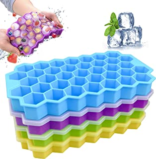 Ice Cube Trays with Lid, 4 Pack Silicone Reusable Ice tray with Removable Lid Flexible and Odorless, 37 Cubes per Tray for...