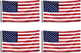 Sunco 4 Pack American Flag, Fast Dry, UV Protected/Fade Resistant, 3 FT x 5 FT, Brass Grommets - Pay Tribute to Veterans, Soldiers, Law Enforcement