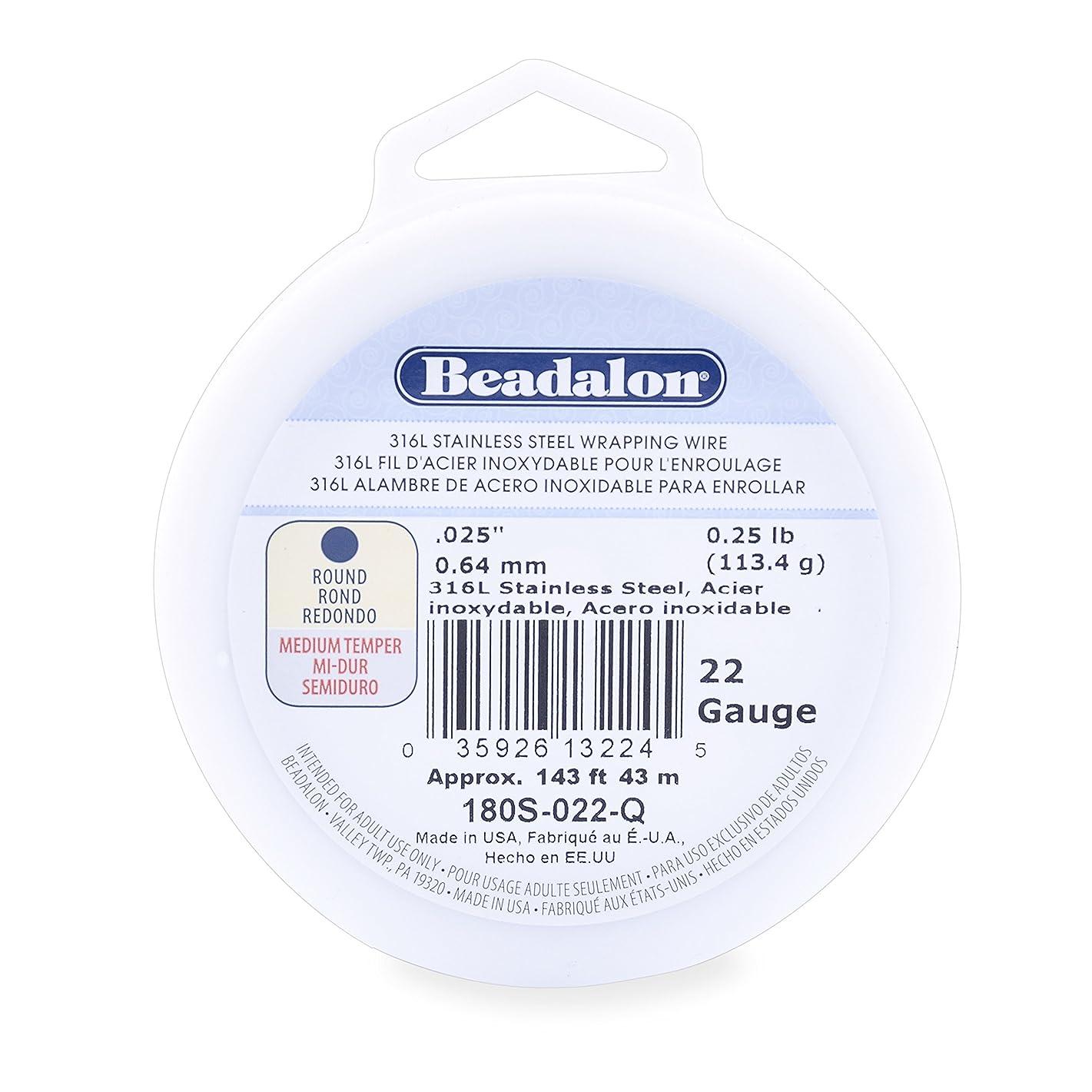 Beadalon 316L Stainless Steel Wrapping Wire, Round, 22 Gauge, Round, 143 feet, 1/4 Pound