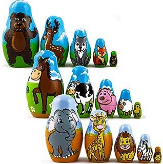 Sponsored Ad - Wood Nesting Dolls for Kids Animals Figurine Set 3 Pcs - Wooden Matryoshka Made in Russia Pet Woodland Crea...