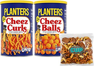 By The Cup Snack Pack - Planters Cheez Curls 4 Ounce Canister and Planters Cheez Balls 2.75 Ounce Canister - with By The Cup Snack Mix