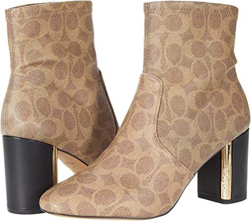 COACH Margot Coated Canvas Bootie,Tan